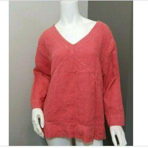 Hot Cotton Linen Tunic V-Neck Top